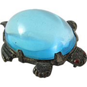 1940's Aquamarine Lucite Jelly Belly Turtle Brooch