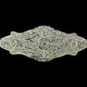Art Deco Period Silver - Tone Rhinestone Brooch