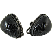 Vintage Mexican Sterling Silver Carved Black Onyx Mask Screw Back Earrings