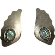 Vintage Mexican Modernist Sterling Silver Abalone Post Earrings
