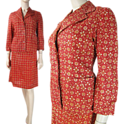 1970's Printed Cotton Skirt Suit