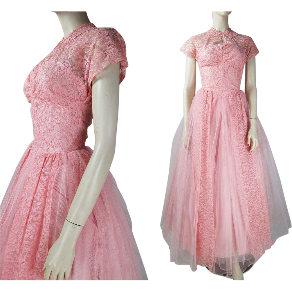 Vintage 1940 S Pink Tulle And Lace Evening Gown With