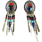Vintage Southwestern Style Quoc Turquoise Inc. Sterling Silver Inlaid Mosaic Dangle Earrings