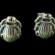 Vintage Sterling Silver Scarab Beetle Earrings