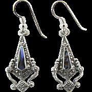 Vintage Sterling Silver Abalone Dangle Earrings For Pierced Ears