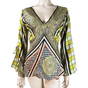 1970's Indian Dyed Silk Blouse With Bell Sleeves