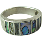 Vintage Sterling Silver Abalone Ring Size 71/4 - 71/2