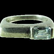 Vintage Modernist Sterling Silver Topaz Ring Size 6 3/4