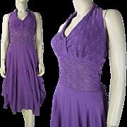 Vintage 1970's Purple Cotton Halter Dress With Crocheted Bodice And Handkerchief Hemline
