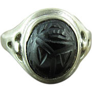 1950's Vintage Joseph Esposito Sterling Silver Carved Onyx Scarab Ring Size 8 3/4