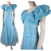 1940's Sky Blue Tulle And Lace Evening Gown With Taffeta Underdress