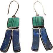 Vintage Chinese Sterling Silver Malachite and Lapis Lazuli Hinged Dangle Earrings