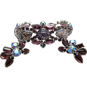 Vintage 1950's Silver - Tone Amethyst Rhinestone Art Glass Bracelet And Earrings Set
