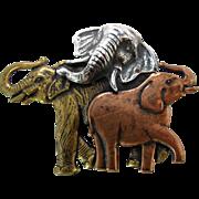 Vintage Mixed Metal Elephant Brooch