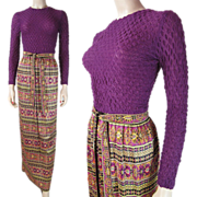 Vintage 1970's Belted Maxi Dress With Printed Skirt