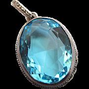 Vintage Sterling Silver Topaz Blue Glass Pendant