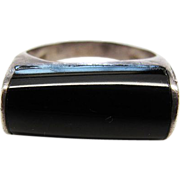 Vintage Mexican Sterling Silver Onyx Ring Size 7 1/4