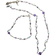 Vintage Sterling Silver Amethyst Bead Cultured Pearl Necklace And Bracelet Set