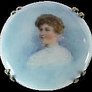 Antique Victorian Hand Painted Portrait Porcelain Brooch