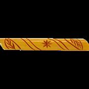 Vintage Carved Butterscotch Bakelite Bar Pin