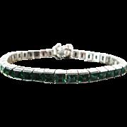 Art Deco Period Silver Tone Green Rhinestone Line Bracelet