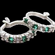 Vintage Sterling Silver Clear And Emerald Green Cubic Zirconia Hoop Earrings