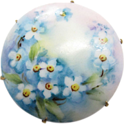 Antique Victorian Hand Painted Floral Porcelain Brooch