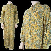 1970's Vintage Indian Printed Cotton Caftan Dress