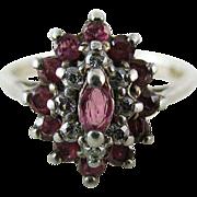 Vintage Sterling Silver Spinel Cluster Ring Size 7 1/2