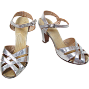 Vintage 1930's Silver Leather Strappy Peep Toe Sling Back Heels