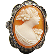 Vintage Art Deco Period Sterling Silver And Marcasite Carved Shell Cameo Ring Size 6