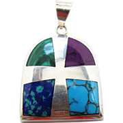 Vintage Taxco Mexican Sterling Silver Stone Inlay Pendant