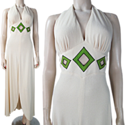 Vintage 1970's Mr. Boots Ivory Crepe Backless Halter Dress With Cutouts