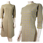 1950's Vintage Plaid Wool Dress