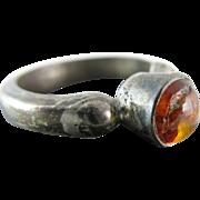 Vintage Sterling Silver Amber Ring Size 7 1/2