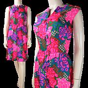 Vintage 1960's Lord & Taylor Sleeveless Printed Silk Dress