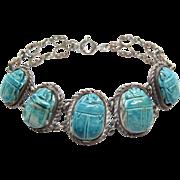 1930's Vintage Egyptian Revival Silver Over Brass Faience Scarab Bracelet