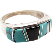 Vintage Signed Native American Sterling Silver Turquoise And Onyx Ring Size 8 1/2