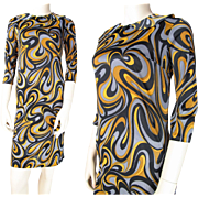 Mod Vintage 1960's Graphic Print Shift Dress By Royal Miss