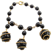 Vintage 1930's German Bracelet With Wire Wrapped Bead Dangles