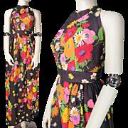1970's Vintage Handmade Floral Print Halter Dress