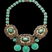 Vintage 1930's Brass Enamel Glass And Rhinestone Choker Length Necklace