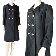 Mod Vintage 1960's Gino Charles Black Silk Coat With Rhinestone Buttons