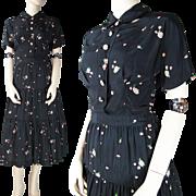 Vintage R & K Originals Floral Printed Crepe Dress With Ruffled Skirt