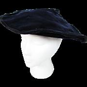 Vintage 1940's Blue Velvet Pancake Hat
