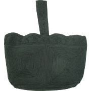Vintage 1940's Black Genuine Cordé Handbag