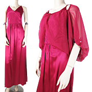 Vintage 1970's Berry Red Satin Sleeveless Evening Gown With Chiffon Jacket