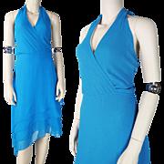 1970's Azure Blue Halter Style Tango Dress