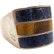 Vintage Mexican Sterling Silver Sodalite And Tiger Eye Ring Size 7 1/2