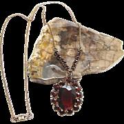 1930's Vintage 12K Gold - Filled Garnet Glass Necklace